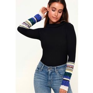Free People Mixed-Up Cuff Sweater Small